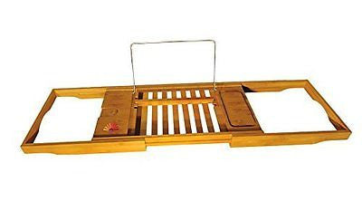 Luxury Organic Bamboo Bathtub Caddy Tray with Extending Sides Perfect