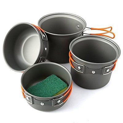 Camping Cookware Mess Kit 5 Piece Lightweight Aluminum Cooking Pan Pot Set