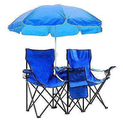 GZYF Portable Folding Picnic Double Chair W/Umbrella Table Cooler Beach Camping