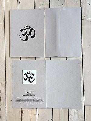 "Conscious Ink"" Om (Sanskrit)"" Manifestation Tattoo Greeting Card With Temporary"