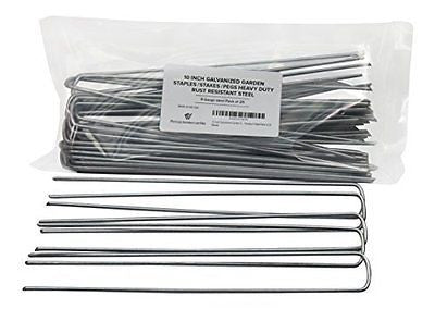 10 Inch Galvanized Garden Staples/Stakes/Pegs Heavy Duty Rust Resistant Steel