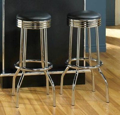 Set of 2 50's Retro Nostalgic Style Black Bar Stools - 29