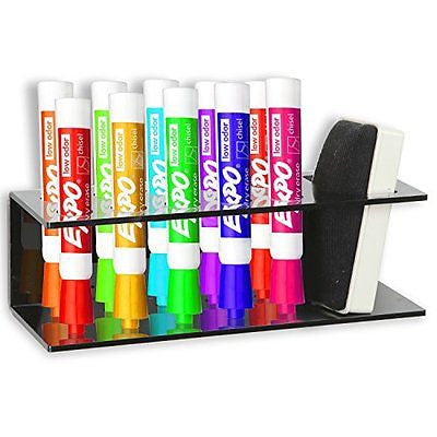 Acrylic Wall Mountable 10 Slot Dry Erase Marker Eraser Holder Organizer Rack