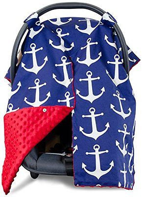 Premium Carseat Canopy Cover with Peekaboo Opening- Large Nautical Anchor Print
