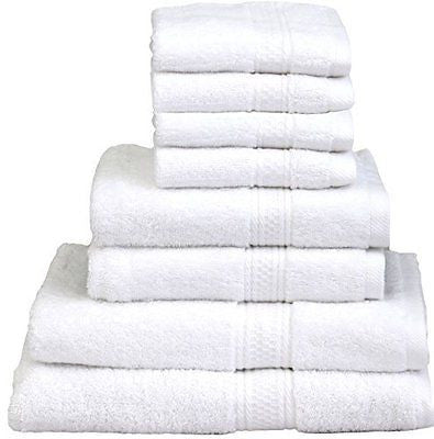 8 Piece Towel Set (White); 2 Bath Towels, 2 Hand Towels & 4 Washcloths