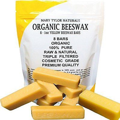 100% Organic Hand Poured Beeswax- 8 x 1 oz Bars Premium Quality Cosmetic Grade