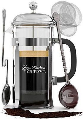 French Press Coffee & Tea Maker Complete Bundle 8-Cups 34 Oz
