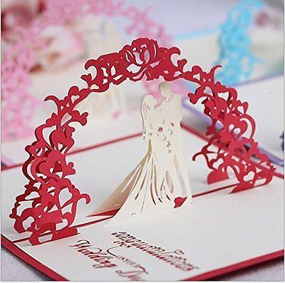 Omall (TM) 10x15cm 3D Pop-up Greeting Card By Chinese Paper-Cut Art Invitation