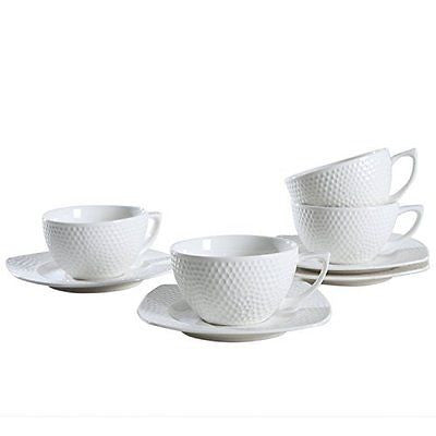 Porcelain Cup and Saucer Microwavable Ceramic Coffee Cup with Handle Set of 4