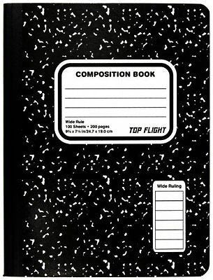 Top Flight Sewn Composition Book, Black and White Marble, Wide Rule, 100 Sheets