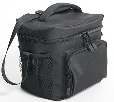 Insulated Lunch Bag (Black) Freezer Safe Nylon Durability Zip Closure