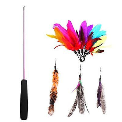 8 Pc Assorted Feather Cat Toy, Etrech? Retractable Wand Rod With 8 Pc Feather