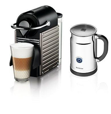 Nespresso Pixie Espresso Maker With Aeroccino Plus Milk Frother Electric Titan