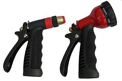 Hose Spray Nozzle Deluxe Set 7 Dial Metal Hand Sprayer Grip Trigger Nozzle
