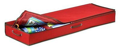Honey-Can-Do SFT-01598 Wrapping Paper and Bow Storage Organizer, Holiday Red