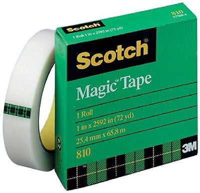 Scotch Magic Tape, 1 x 2592 Inches, 3 Inch Core, Boxed (810)