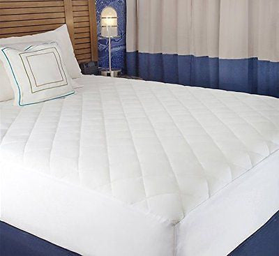 "Queen Size Quilted Fitted Mattress Pad Cover 60"" x 80"" - Up To 20"" Deep"