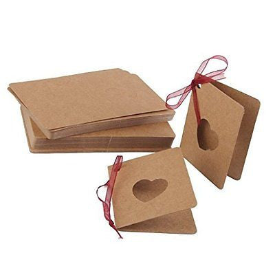 50pcs Paper Blank Gift Tags Mini Greeting Cards Hollow Out (Heart)