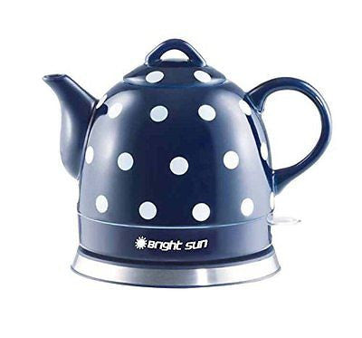 Fixture Displays Ceramic Electric Kettle with Polka Dots Blue White 13582 13582