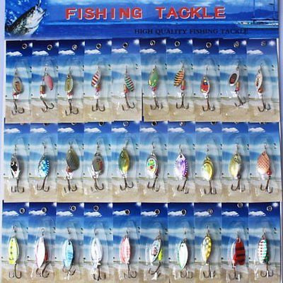 30pcs Metal Fishing Lures Spinner Baits Crankbait Assorted Fish Hooks Tackles