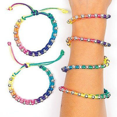 Neon Rainbow Adjustable Shamballa Bracelets Party Bag Fillers Children's Gifts
