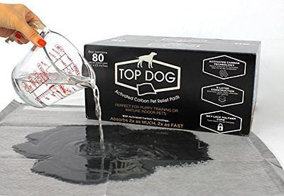 Top Dog 80 Pack Deluxe Puppy Pads and Dog Training Pad with Extra Quick-Dry Blac