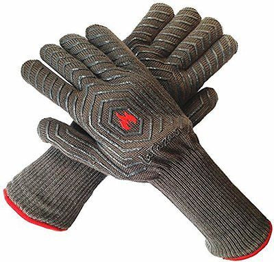 LaTazas? Extreme Heat Resistant Grill Oven Mitts, Hot 932¡ãF (EN407) 14 Inches E
