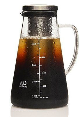 Ovalware RJ3 Cold Brew Iced Coffee Maker and Tea Infuser - 1.0L Brewing Glass