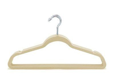 Thin Beige Velvet Clothes Hangers - Pack of 50