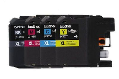 Genuine Brother LC103 High Yield Color Ink Cartridge 4-Pack (Bk/C/M/Y)