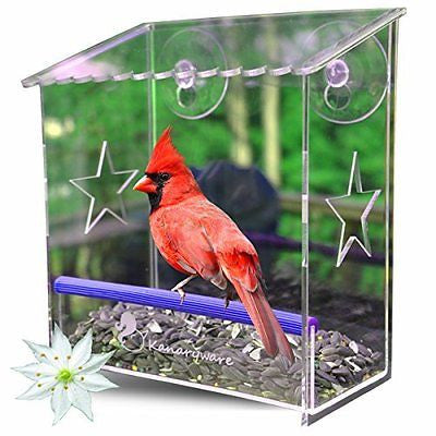 Window Bird Feeder with Strong Suction Cups - Our Acrylic Birdhouse is Clear