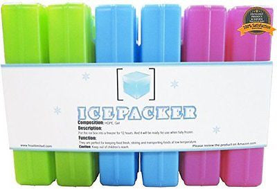 Ice Packs (6 Pcs) - Cool Reusable Freezer Pack Camping Trips etc