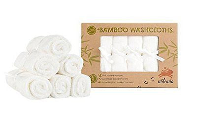 Natemia Premium Bamboo Baby Washcloths - Extra Soft Baby Bath Towels (6-Pack)
