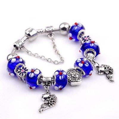 Sapphire Blue Beads Hand Carving Flowers Hollow Silver Little Fishs Pendant