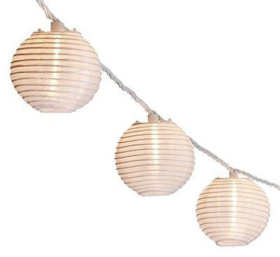 Oriental Lantern Outdoor Indoor String Lights 11 Feet Length 10 Lights White
