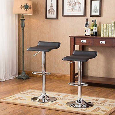 Roundhill Furniture Contemporary Chrome Air Lift Adjustable Swivel Stools