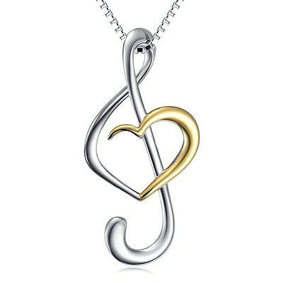 (Musical Note Necklace Pendant) 925 Sterling Silver Jewelry For Women