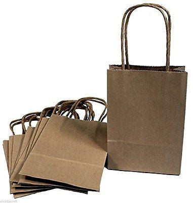 Creative Hobbies? 24 Brown Small Paper Gift Handle Bags Approx
