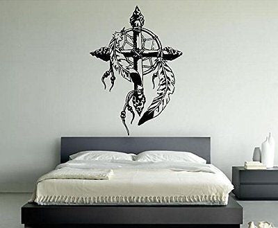 Wall Room Decor Art Vinyl Sticker Mural Decal Cross Dream Catcher Large AS1799