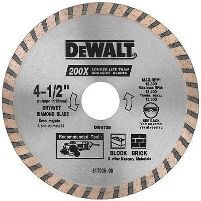 DEWALT DW4725 4-1/2-Inch Dry Cutting Continuous Rim Diamond Saw Blade