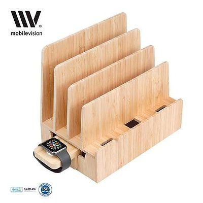 Bamboo Charging Station Apple Watch Adapter Multi Device Organizer