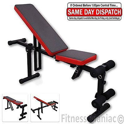 Adjustable Folding Incline Flat Gym Bench Exercise Weight Press Workout Training