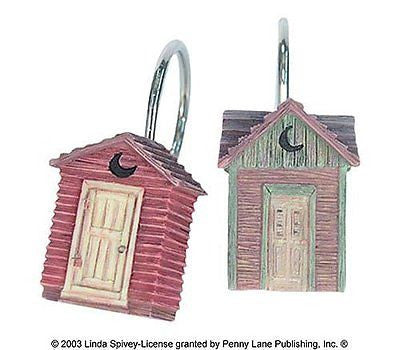 Linda Spivey Out House Bathroom Curtin Decor Outhouse Shower Curtain Hooks