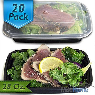 28 Oz. Meal Prep Containers BPA Free Plastic Reusable Food Storage Container