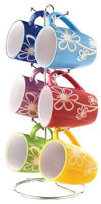 6-Piece Mug with Stand Daisy