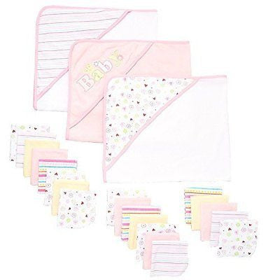 Spasilk 23-Piece Essential Baby Bath Gift Set, Pink