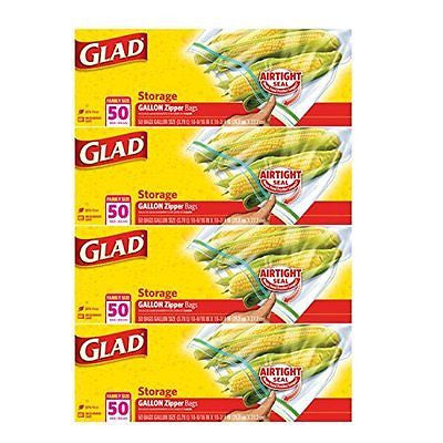 Glad Zipper Gallon Food Storage Bags 50 Count (Pack of 4) Packaging May Vary