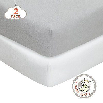 2 Pack Fitted Crib Sheet-Woven Cotton Flannel Fit Standard Crib Mattress