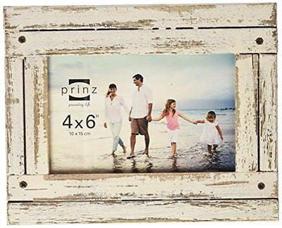 Prinz Homestead Wood Frame, 4 by 6-Inch, Distressed White