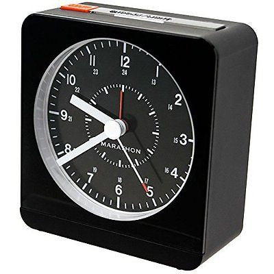 MARATHON CL030053BK Analog Desk Alarm Clock With Auto-Night Light - Batteries